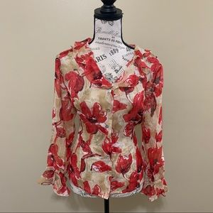 Tess Red Floral Button Down Long Sleeve Silk Top